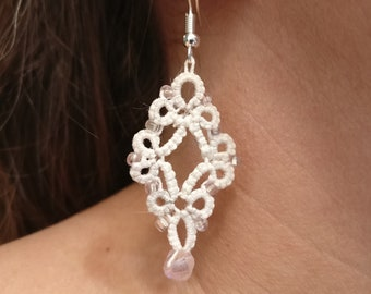 lace earrings, wedding earrings, tatted earrings