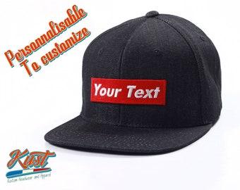 a123e926e06 Casquette snapback Denim à personnaliser - Ton texte sur label rouge style  Supreme