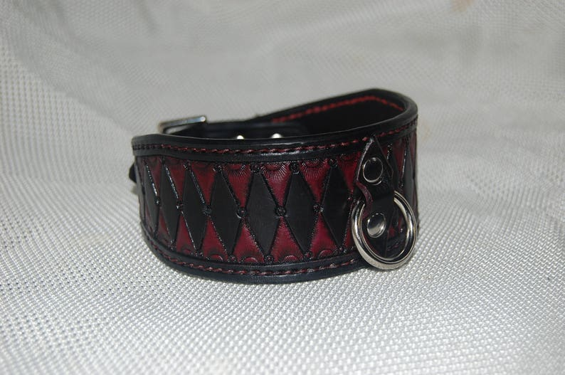 100/% real leather BDSM collar bondage collar fetish collar harley quinn harlequin hand stitched hand carved hand tooled