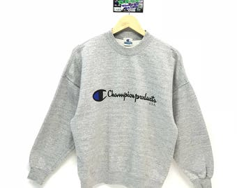ae1c47ed07a7 Vintage Champion Sweatshirt Big Logo Spell out Embroidery Sweatshirt Pullover  Jumper Sweater Crew Neck Size M