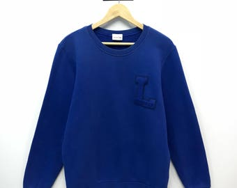 Rare!!! Vintage Lacoste Sweatshirt Big Logo Embroidery Spell Out Pullover Jumper Sweater M Size