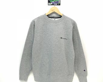 Rare!!! Vintage Champion Sweatshirt Small Logo Spell Out Embroidery Pullover Jumper Sweater Crew Neck Size L Fit To Size M