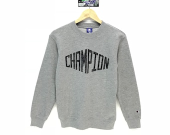 Rare!!! Vintage Champion Sweatshirt Small Logo Embroidery Big Spell out Champion Pullover Jumper Sweater Crew Neck Size 160 Fit To Size S