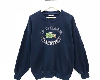 Rare!!! Vintage Lacoste Sweatshirt Chemise Lacoste Big Logo Spell Out Embroidery Pullover Jumper Sweater Size L