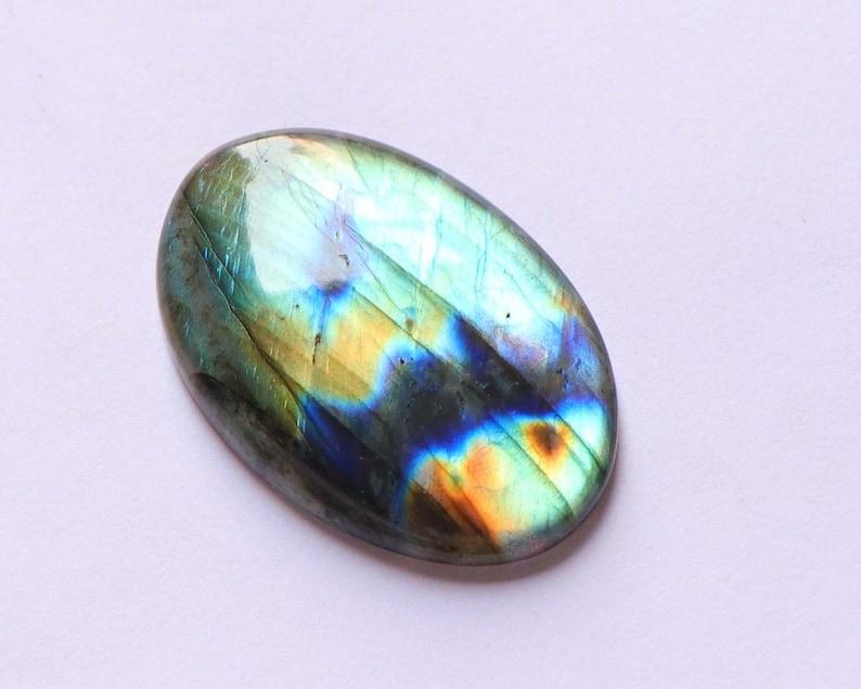 Super Quality 43x29x6 mm Natural Labradorite Gemstone Jewelry Making Attractive Labradorite Cabochon Multi Flashy Oval Shape 1 Pcs
