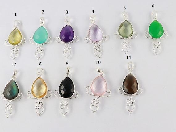 1 Pcs, mélange naturel, pierres semi-précieuses, 92,5 Sterling argent pendentif poire Briolette, belle Designer fait main Bijoux pendentif, P654