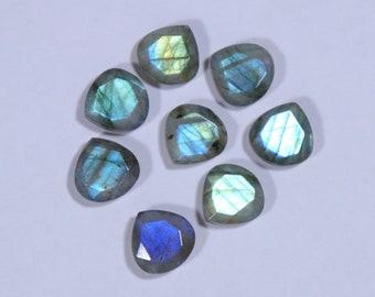 Superb Labradorite Heart Shape Gemstone, Natural Labradorite Gemstone, Multi Flashy Tablet Both Side Flat and Cut Stone, 8 Pieces,  12x12 mm