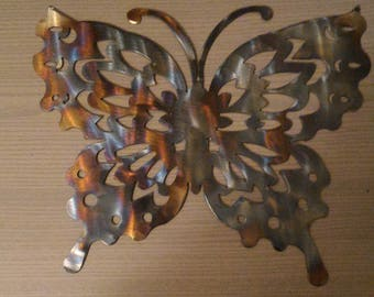 Handcrafted recycled steel butterfly