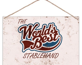The Worlds Best Stablehand - Vintage Look Metal Large Plaque Sign 30x20cm