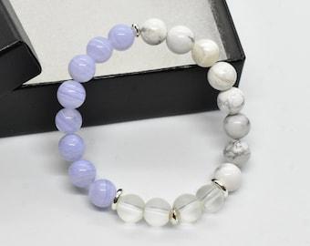 Blue Lace Agate, Howlite, Matte Crystal, 8 mm Stretch Bracelet