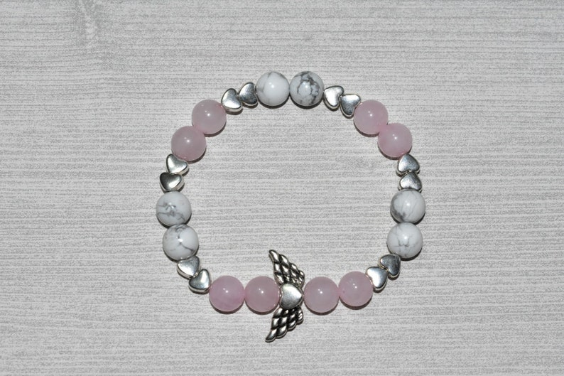 Angelic Family 8 mm Stretch Bracelet with Heart with Wings Charm Mother Daughter Love Angel Peace,Calm Howlite Passion Rose Quartz