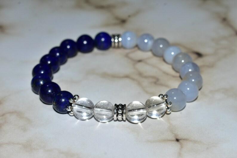 8 mm Stretch Bracelet Crystal Quartz Female Mother Lapis Lazuli Light Blue Unisex Half Clear Blue Lace Agate Women Mom Dark Blue