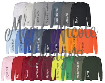 every color  Digital File Shirt Color Chart // gildan 540/ Unisex Jersey Color Chart // Etsy Color Chart // long sleeve Color Chart