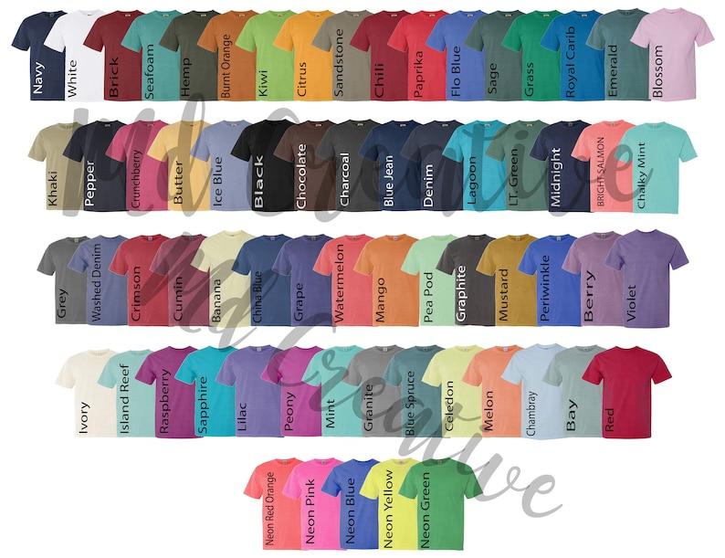Comfort Colors Color Chart >> Digital File Shirt Color Chart Comfort Colors 1717 Color Etsy