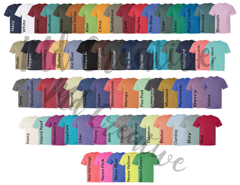 Digital File Shirt Color Chart // Comfort Colors 20 Color   Etsy