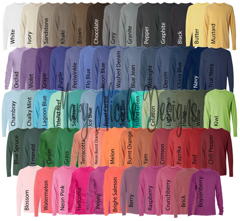 Comfort Colors Color Chart >> Comfort Colors 6014 All Color Chart Etsy Color Chart Etsy