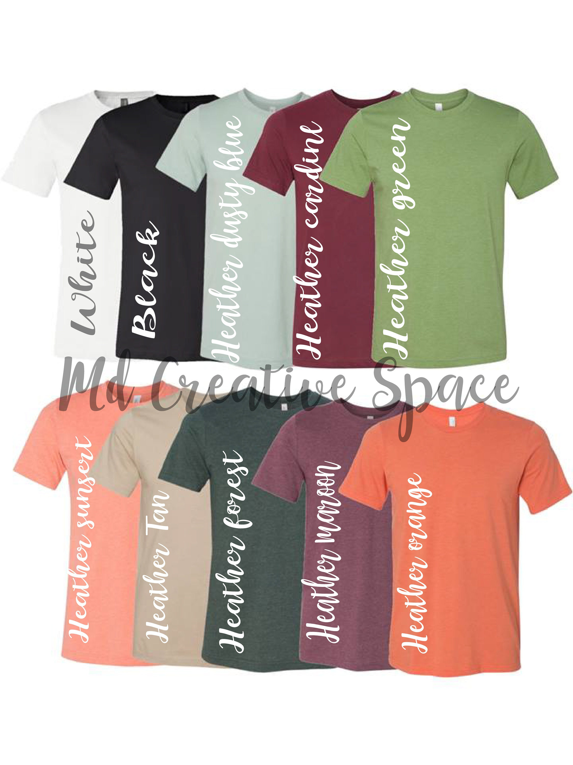 Fall Colors Digital File Shirt Color Chart Bella And Canvas Etsy