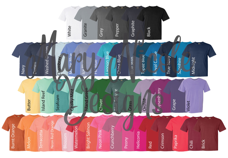 Digital File Shirt Color Chart // Comfort Colors youth c20 Color Chart //  Etsy Color Chart // Tshirt Color Chart //comfort color