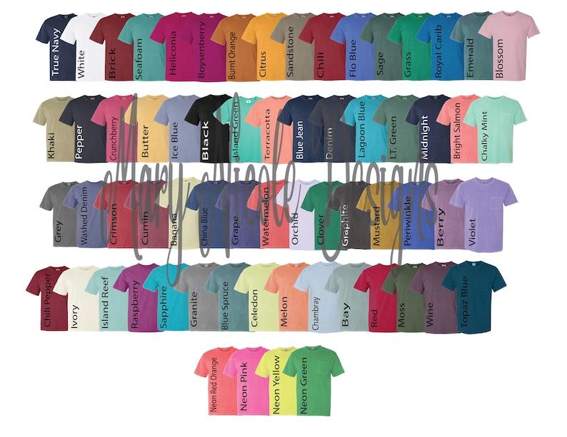Comfort Colors Color Chart >> Digital File Shirt Color Chart Comfort Colors 6030 Color Etsy