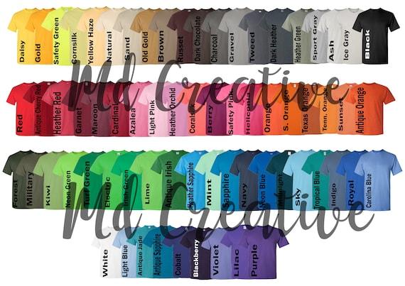Every Color Digital File Shirt Color Chart Gildan 5000 Etsy