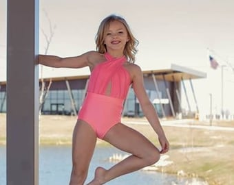 3673bacdccf4 Avery Halter Neck Dance Leotard. Dancewear. Girls Dancewear. Girls Leotard.