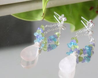 Rose quartz, apatite, tanzanite and peridot gemstones silver chain earrings