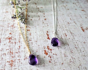 Amethyst pendant with chain