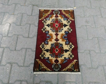 Turkish Rug 1.6x2.6 ft,small vintage rug,front door mat,bath mat,small Brown rug,oushak rug runner,colorful rug,indoor mat,boho rug,wool rug