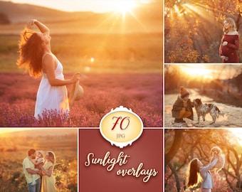 70 Sunlight photoshop overlays, lens flare photo overlays, natural light photography overlays, light beams overlays, sun rays textures