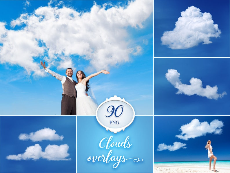 90 Clouds Photo Overlays Sky Overlay Real Clouds Overlays Photo Prop Digital Download Transparent Png File Instant Download Clip Art