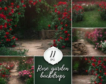 11 Rose garden digital backdrops, summer photoshop background, flower photo backdrop, dreamy backdrops for photographers, flowering tree