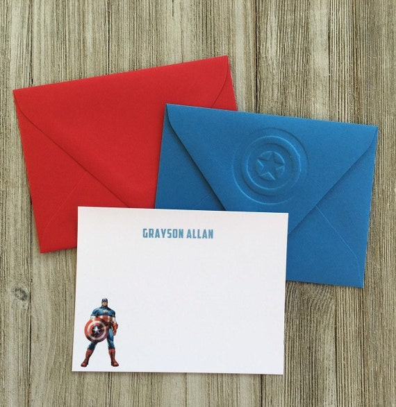10 x Personalised Superheroes Captain America Thank You Cards /& Envelopes 20
