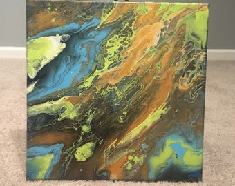 Mineral Life by Listed Artist Tina Mitrousis-Bouris Lime,Blue,Brown