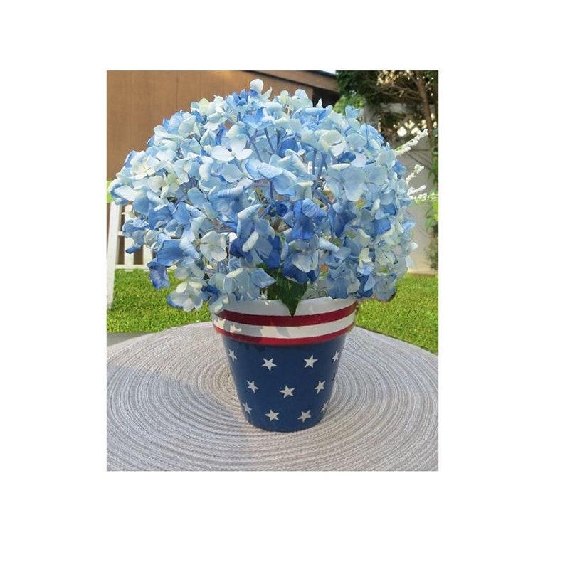 Pot De Fleur Terre Cuite Patriotique Peint à La Main Décor Etsy