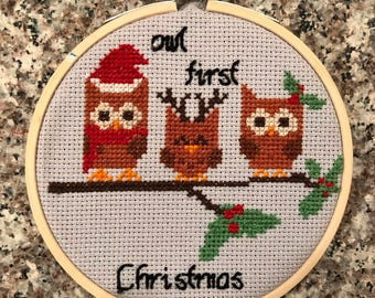 Owl First Christmas Cross Stitch Ornament