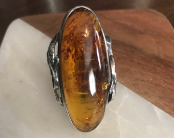 Vintage Sterling Silver and Amber Ring with Leaf Detail 1990's Large .925