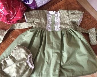 Green dress and panties