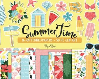 Summer Girls Digital paper set planner, tropical girly