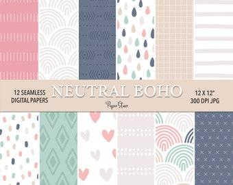 Happy Slogan Rainbow Boho Bohemian Seamless Pattern  Fabric Design  Surface Pattern  Digital Paper  Digital Download  Digital Pattern