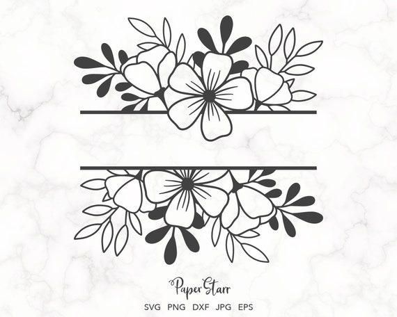 Rose Laurel Cut File for Silhouette Commercial Use split monogram Use for Scrapbooking card making transfers Cricut or Hand Cutting