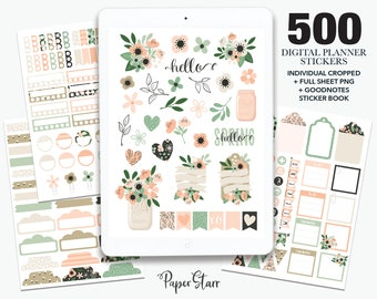 500 Spring Floral Digital Planner Stickers for Goodnotes & other digital planning apps. Cropped PNG files, Goodnotes Book. Personal Use