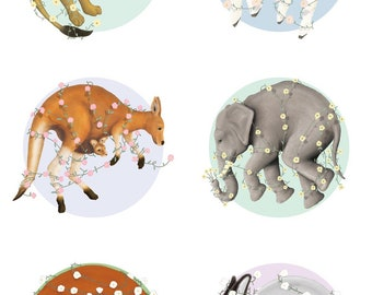 "Dreamtime Nursery Animals 12""x12"" Prints"