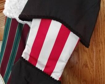 Mini striped taffeta Christmas stocking YuleJul tree ornament Handmade gift card andor silverware holder