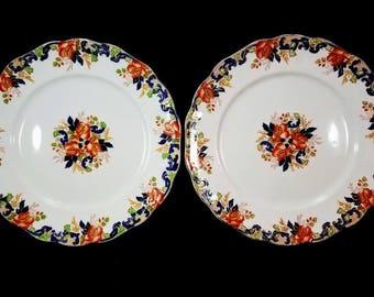 Antique 'Majestic' Polychrome Transferware Plates by John Maddock & Sons Ltd