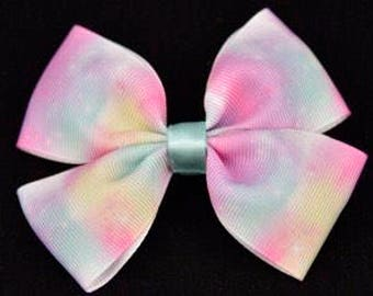 Pastel Cloud Print Hair Bow 4in / 10cm