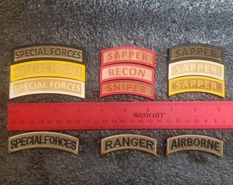 Actual size Baltic Birch Laser Etched Tabs -YOU PICK! Ranger, Special Forces, Sapper, Mountain, Recon, Sniper, Honor Guard, Redleg, RLTW Tab