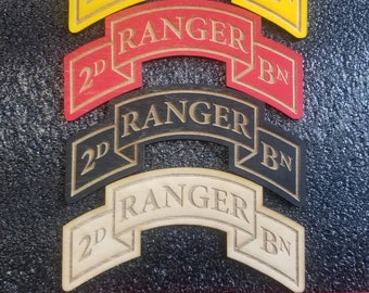 5. 5 INCH Baltic Birch or Red Acrylic Laser Etched - 2nd Ranger Battalion Scroll - Fort Lewis Washington