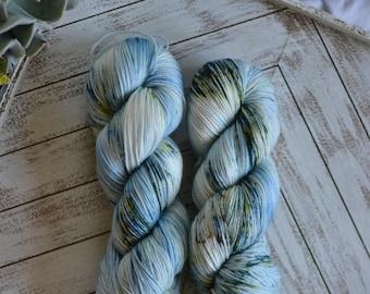 "Fingering Weight, Van Gogh Series: ""Seascape At Saintes Maries II"", Superwash Merino Nylon Blend, Hand Dyed Yarn, Sock Weight, 100g"