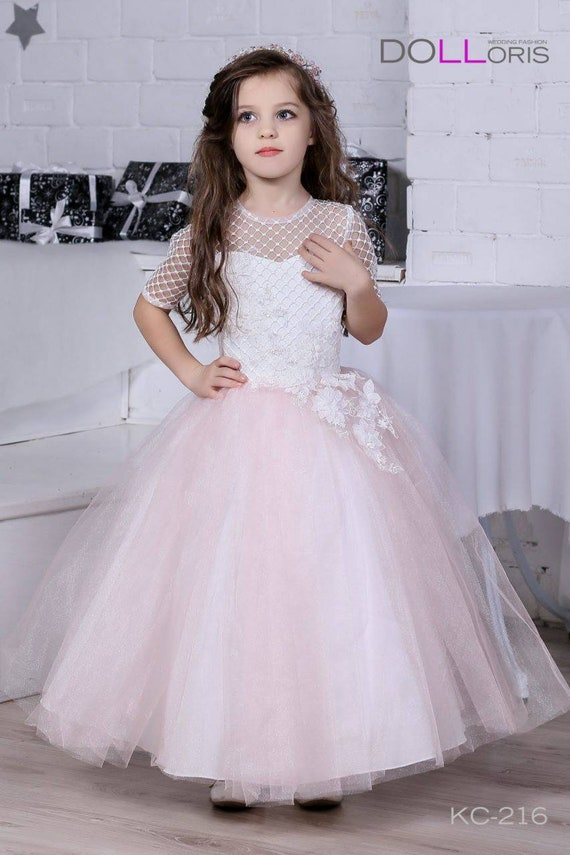 Big Or Small Girl Flower Girl Dress Pink White Or Ivory Etsy