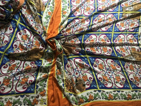 Tissu en soie tissu/crêpe-de barbotine barbotine tissu/crêpe-de / tissu mousseline de soie de majolique. Motif de 1,2 mètre 309b86